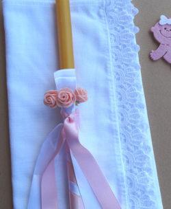 sveca za krstenje sa roze