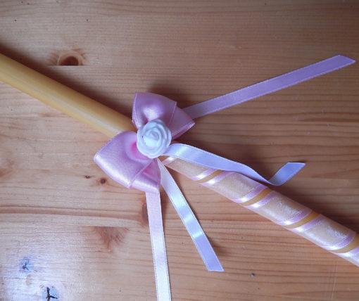 sveca za krstenje sa roze tilom