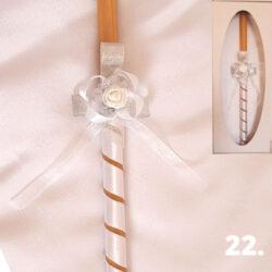 Srebrno bela dekorisana sveća i srpsko platno u kutiji