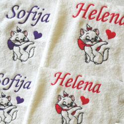 peškir sa imenom i macom