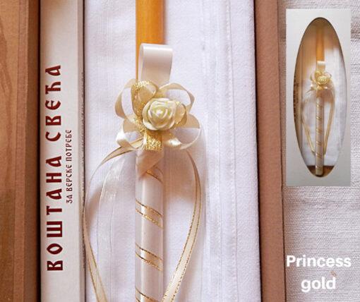 Dekorisana sveca za krstenje Princess gold