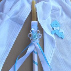 sveca za krstenje svetlo plava